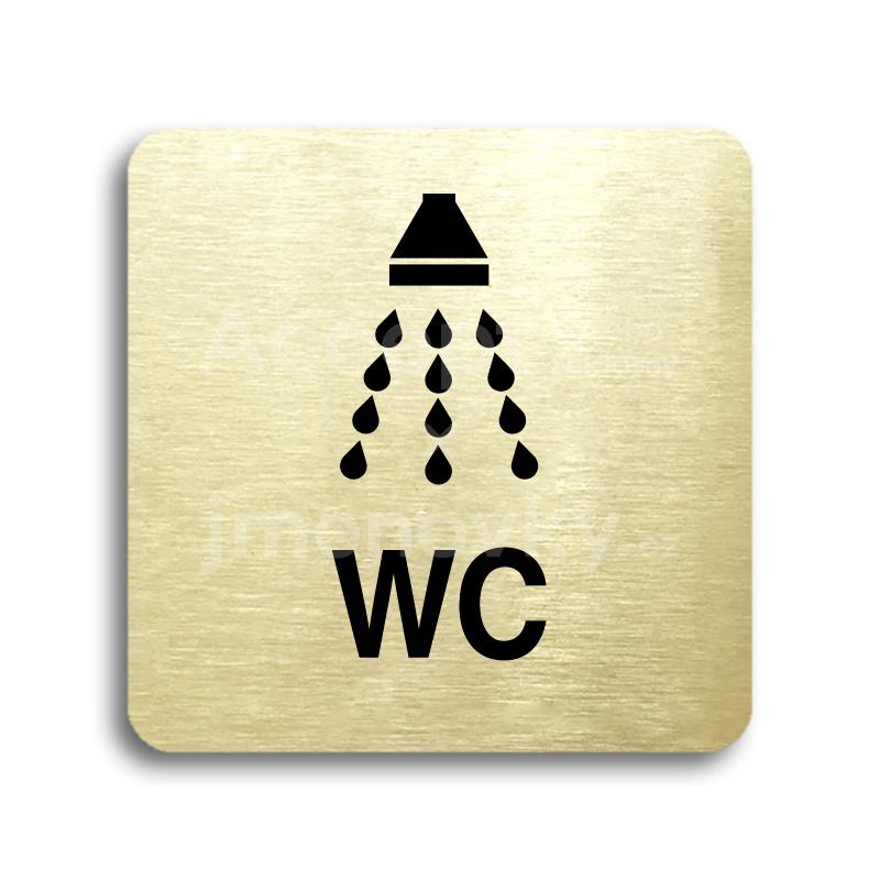 ACCEPT Piktogram sprcha, WC - zlatá tabulka - černý tisk bez rámečku