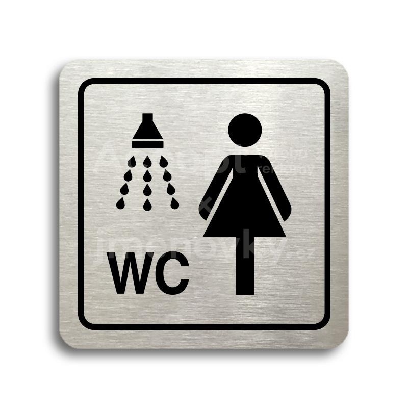 ACCEPT Piktogram sprcha, WC ženy - stříbrná tabulka - černý tisk