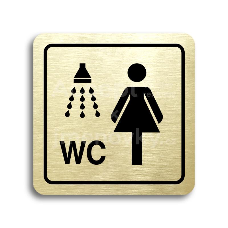 ACCEPT Piktogram sprcha, WC ženy - zlatá tabulka - černý tisk