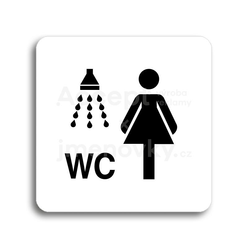 ACCEPT Piktogram sprcha, WC ženy - bílá tabulka - černý tisk bez rámečku
