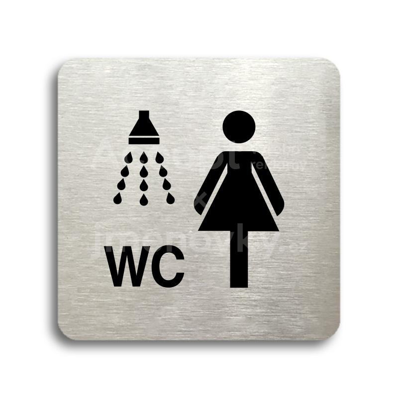 ACCEPT Piktogram sprcha, WC ženy - stříbrná tabulka - černý tisk bez rámečku