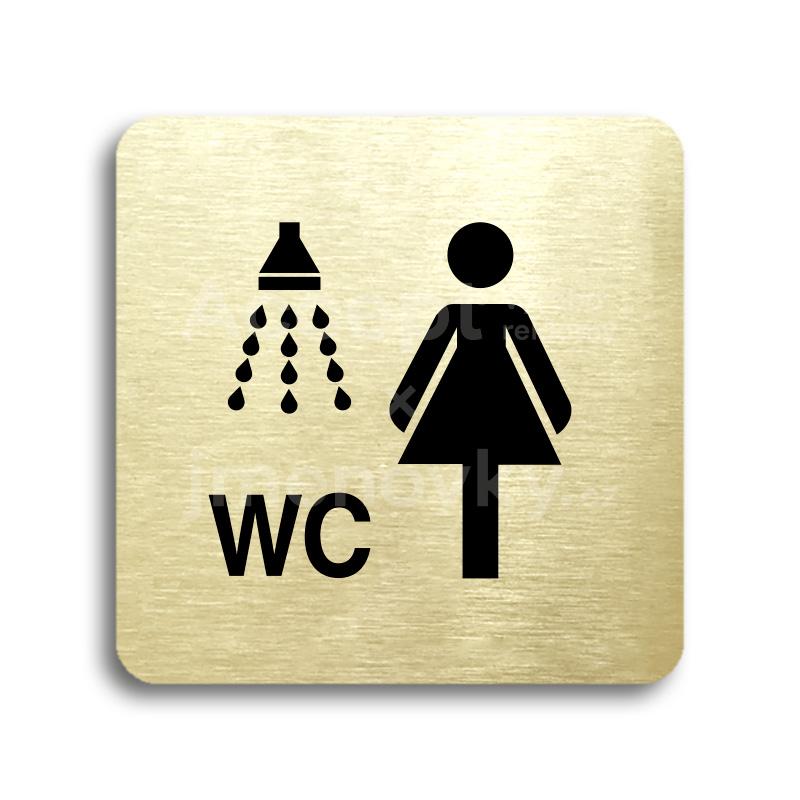 ACCEPT Piktogram sprcha, WC ženy - zlatá tabulka - černý tisk bez rámečku