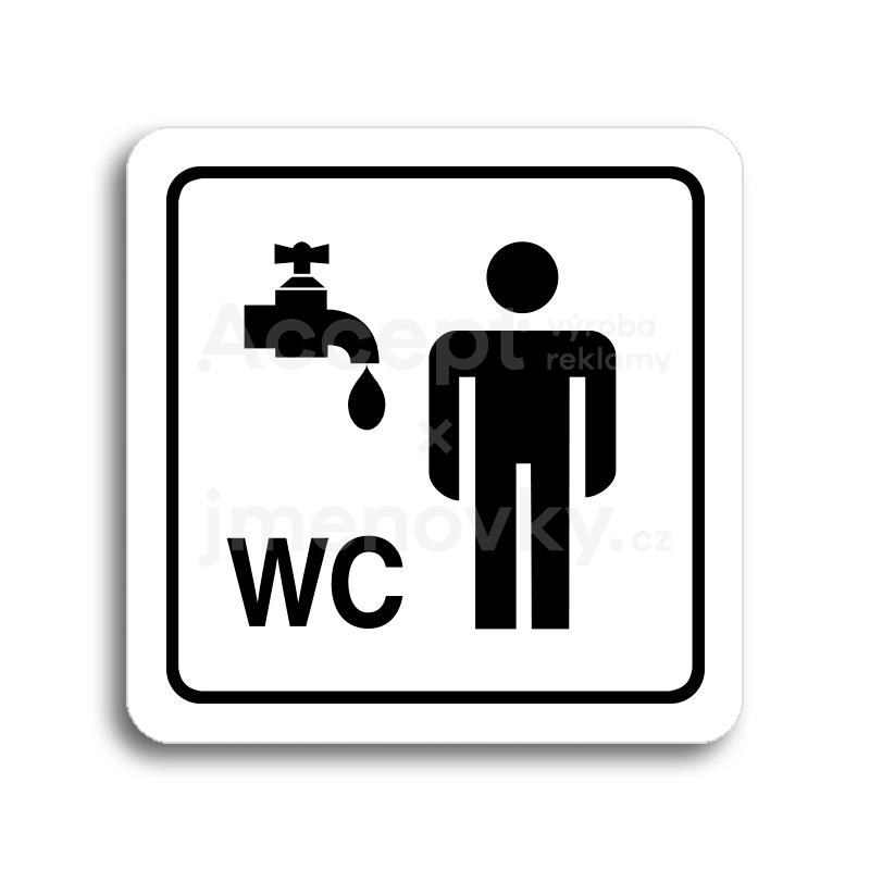 ACCEPT Piktogram umývárna, WC muži - bílá tabulka - černý tisk