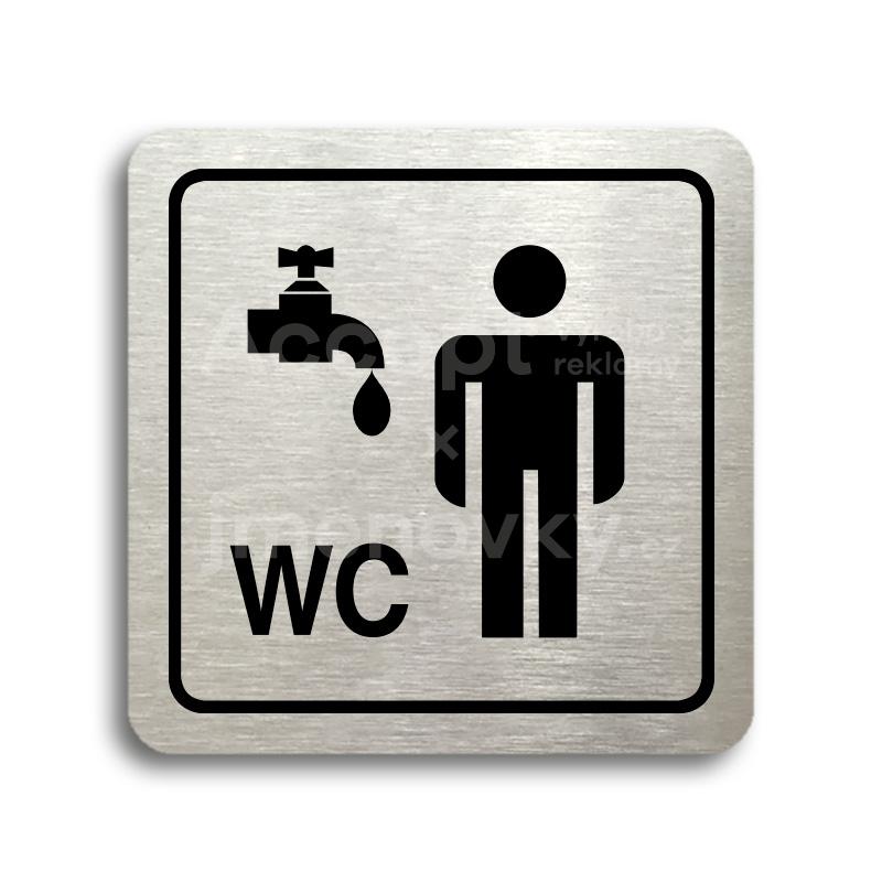 ACCEPT Piktogram umývárna, WC muži - stříbrná tabulka - černý tisk