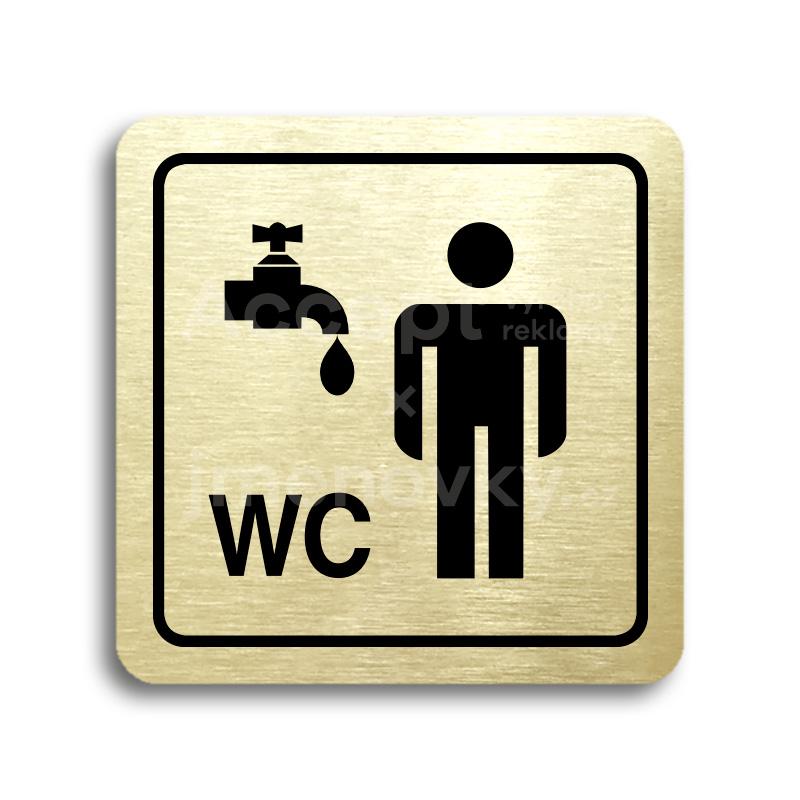 ACCEPT Piktogram umývárna, WC muži - zlatá tabulka - černý tisk