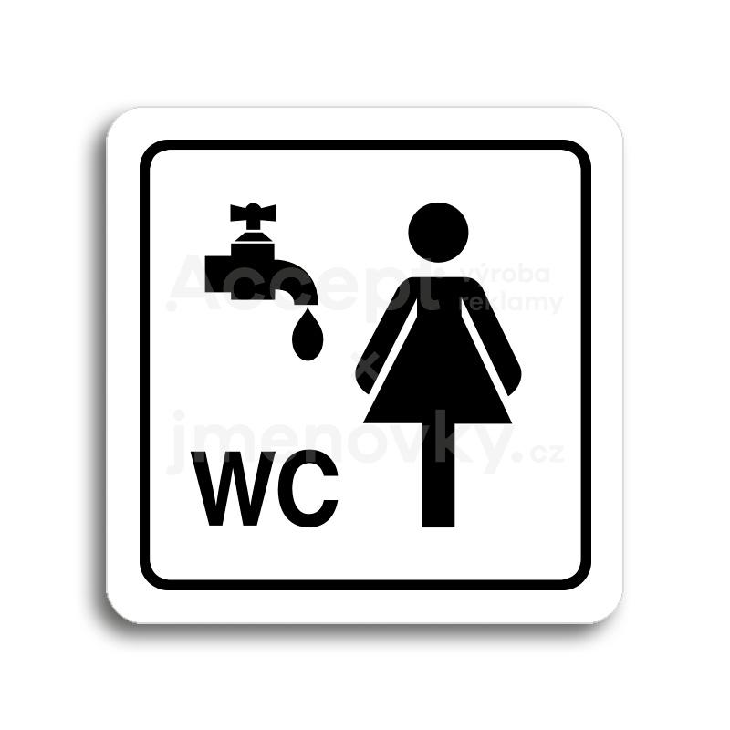 ACCEPT Piktogram umývárna, WC ženy - bílá tabulka - černý tisk