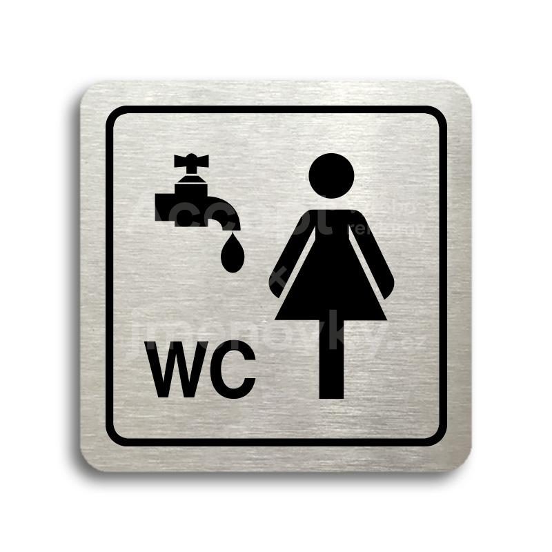 ACCEPT Piktogram umývárna, WC ženy - stříbrná tabulka - černý tisk