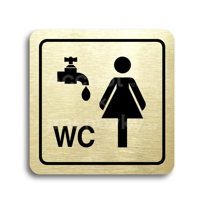 ACCEPT Piktogram umývárna, WC ženy - zlatá tabulka - černý tisk