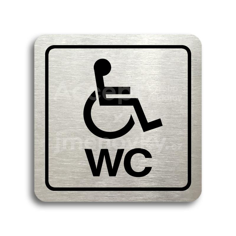 ACCEPT Piktogram WC invalidé (imobilní) - stříbrná tabulka - černý tisk