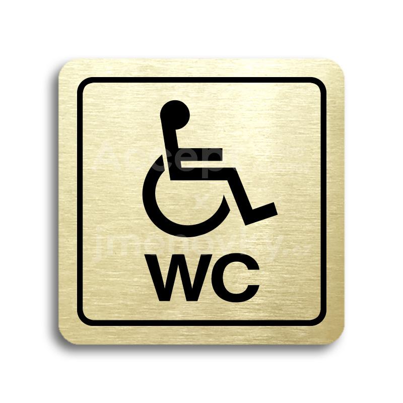 ACCEPT Piktogram WC invalidé (imobilní) - zlatá tabulka - černý tisk
