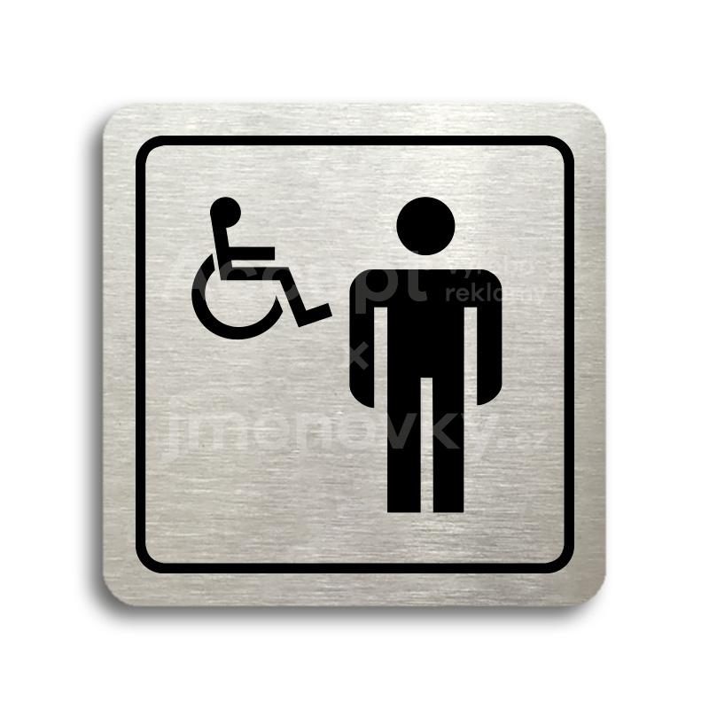 ACCEPT Piktogram WC muži, invalidé - stříbrná tabulka - černý tisk