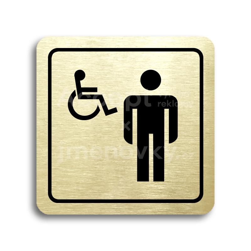 ACCEPT Piktogram WC muži, invalidé - zlatá tabulka - černý tisk