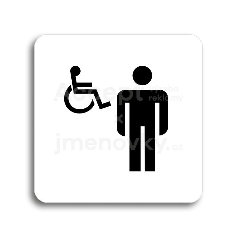 ACCEPT Piktogram WC muži, invalidé - bílá tabulka - černý tisk bez rámečku