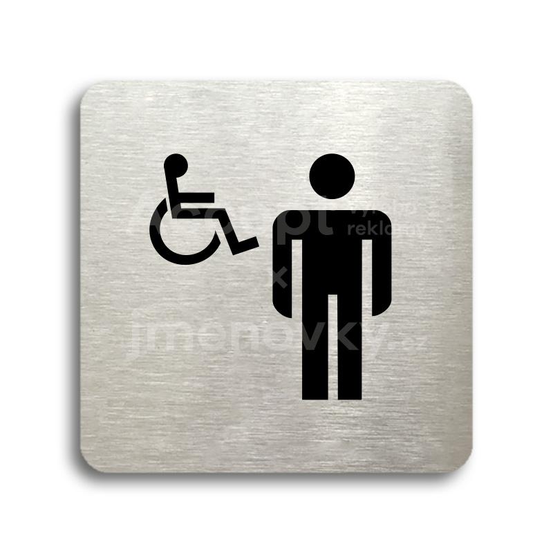 ACCEPT Piktogram WC muži, invalidé - stříbrná tabulka - černý tisk bez rámečku