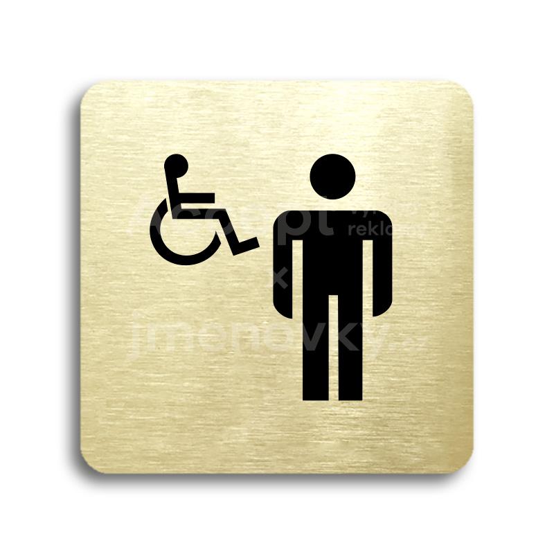 ACCEPT Piktogram WC muži, invalidé - zlatá tabulka - černý tisk bez rámečku