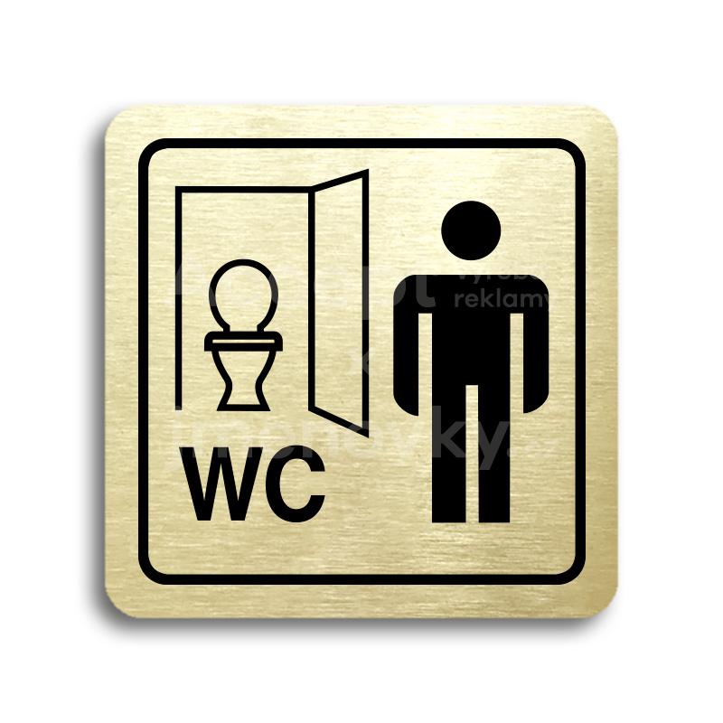 ACCEPT Piktogram WC muži kabinka - zlatá tabulka - černý tisk