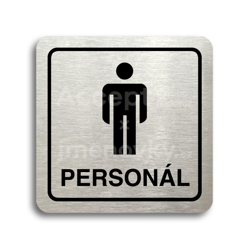 ACCEPT Piktogram WC muži personál - stříbrná tabulka - černý tisk