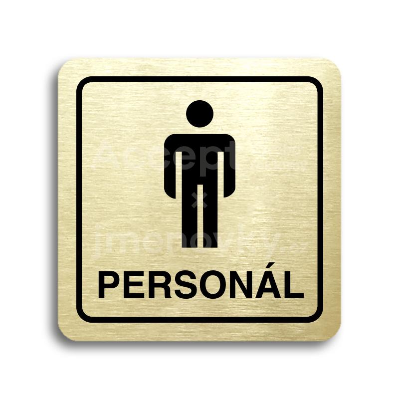 ACCEPT Piktogram WC muži personál - zlatá tabulka - černý tisk