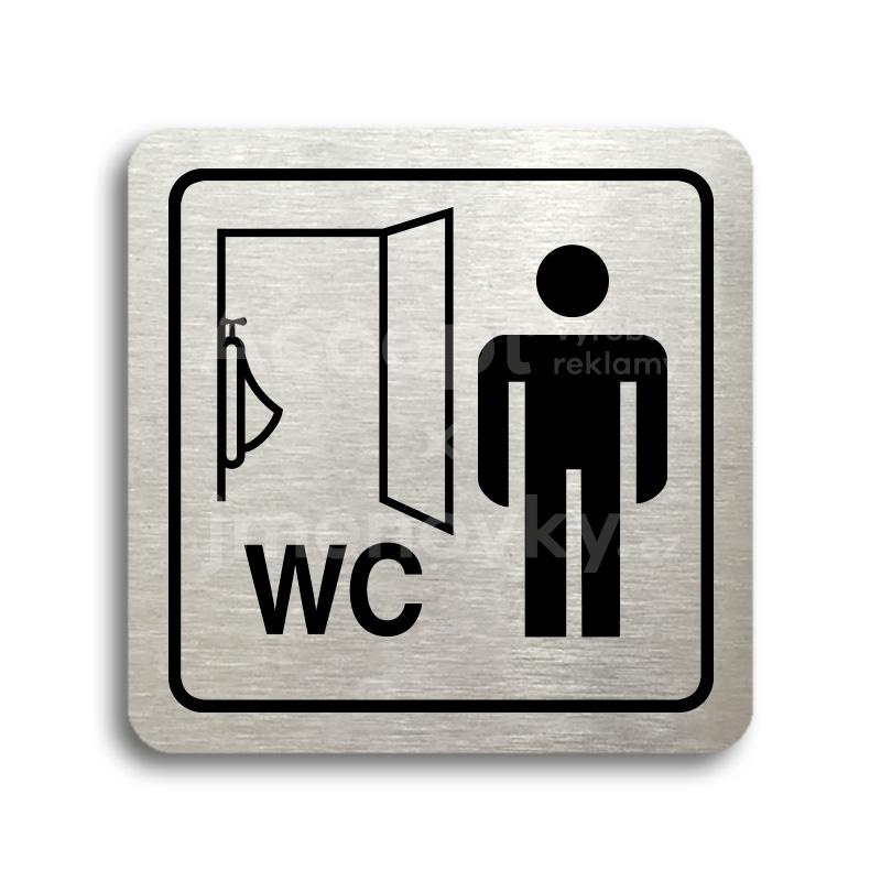 ACCEPT Piktogram WC muži pisoár - stříbrná tabulka - černý tisk