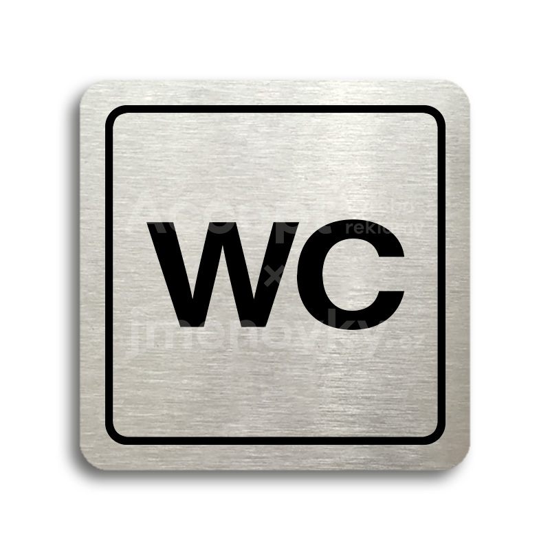 ACCEPT Piktogram WC - stříbrná tabulka - černý tisk