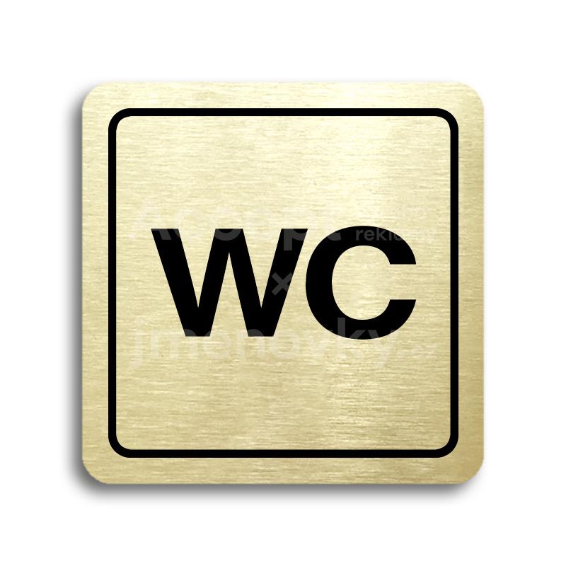 ACCEPT Piktogram WC - zlatá tabulka - černý tisk