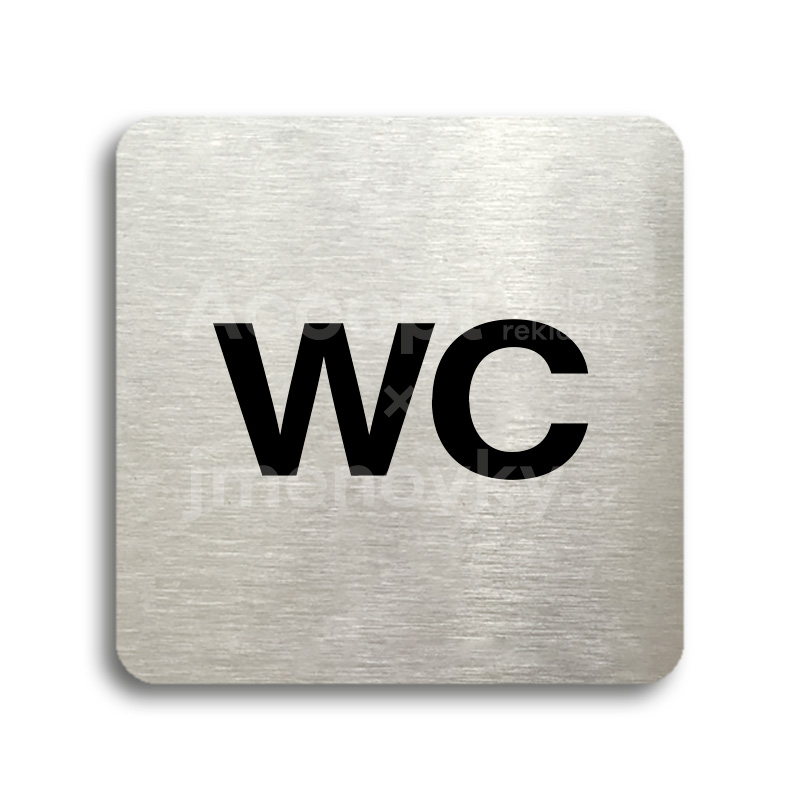 ACCEPT Piktogram WC - stříbrná tabulka - černý tisk bez rámečku