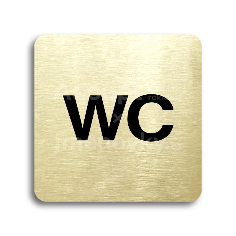 ACCEPT Piktogram WC - zlatá tabulka - černý tisk bez rámečku
