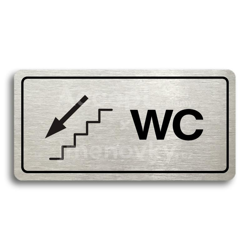ACCEPT Piktogram WC VLEVO DOLŮ - stříbrná tabulka - černý tisk