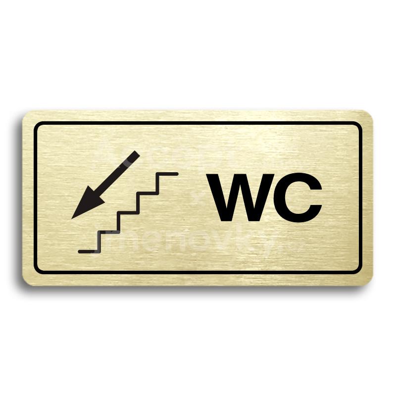 ACCEPT Piktogram WC VLEVO DOLŮ - zlatá tabulka - černý tisk
