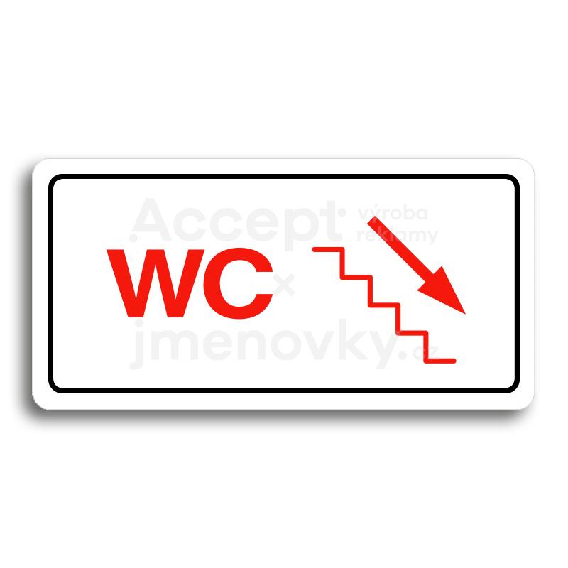 ACCEPT Piktogram WC VPRAVO DOLŮ - bílá tabulka - barevný tisk