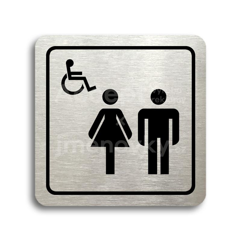 ACCEPT Piktogram WC ženy, muži, invalidé - stříbrná tabulka - černý tisk