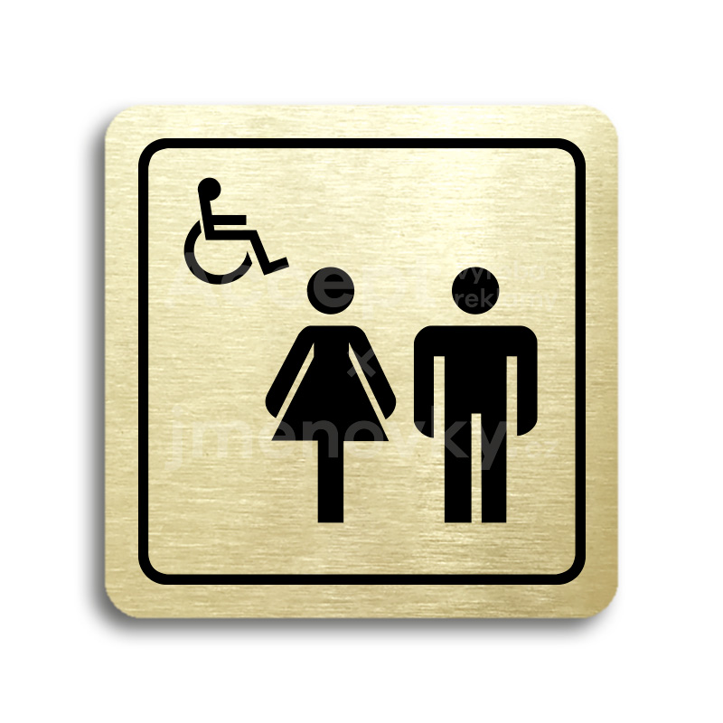 ACCEPT Piktogram WC ženy, muži, invalidé - zlatá tabulka - černý tisk
