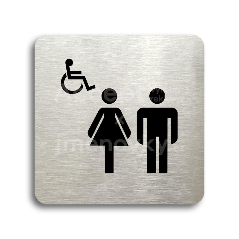 ACCEPT Piktogram WC ženy, muži, invalidé - stříbrná tabulka - černý tisk bez rámečku