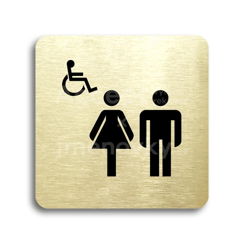 ACCEPT Piktogram WC ženy, muži, invalidé - zlatá tabulka - černý tisk bez rámečku