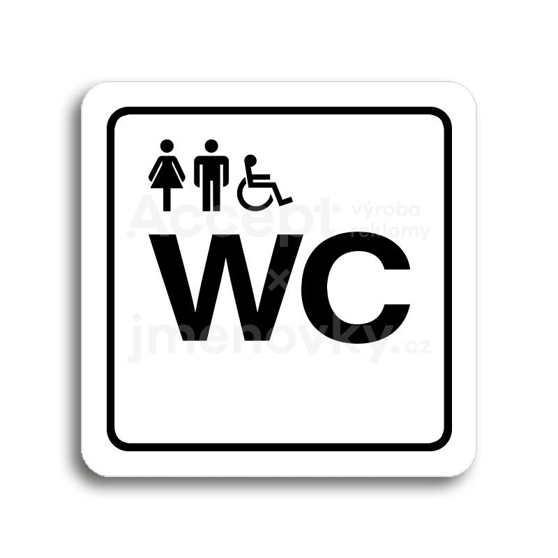 ACCEPT Piktogram WC ženy, muži, invalidé - bílá tabulka - černý tisk
