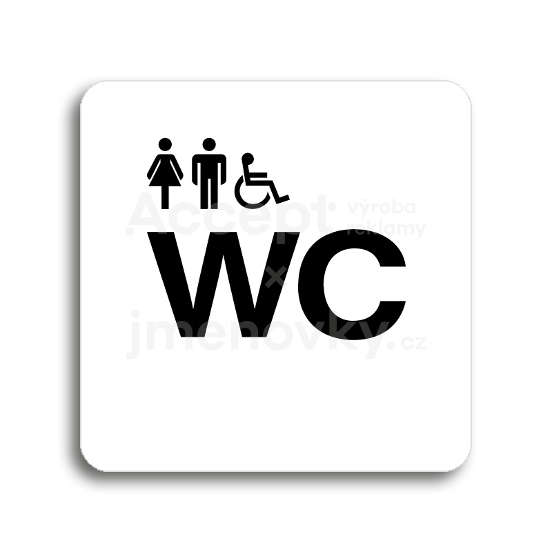 ACCEPT Piktogram WC ženy, muži, invalidé - bílá tabulka - černý tisk bez rámečku