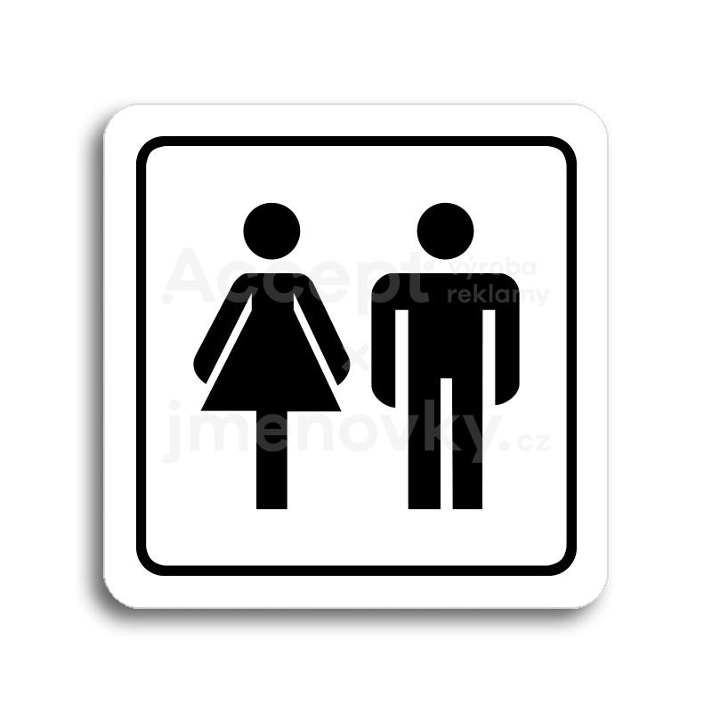 ACCEPT Piktogram WC ženy, muži - bílá tabulka - černý tisk
