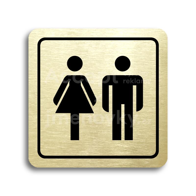 ACCEPT Piktogram WC ženy, muži - zlatá tabulka - černý tisk
