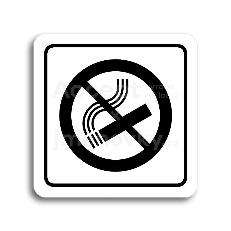 ACCEPT Piktogram zákaz kouření - bílá tabulka - černý tisk