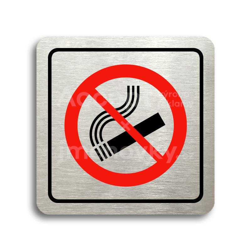 ACCEPT Piktogram zákaz kouření - stříbrná tabulka - barevný tisk