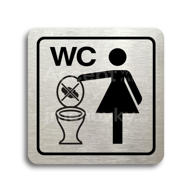 ACCEPT Piktogram zákaz vhazování předmětů do WC - stříbrná tabulka - černý tisk