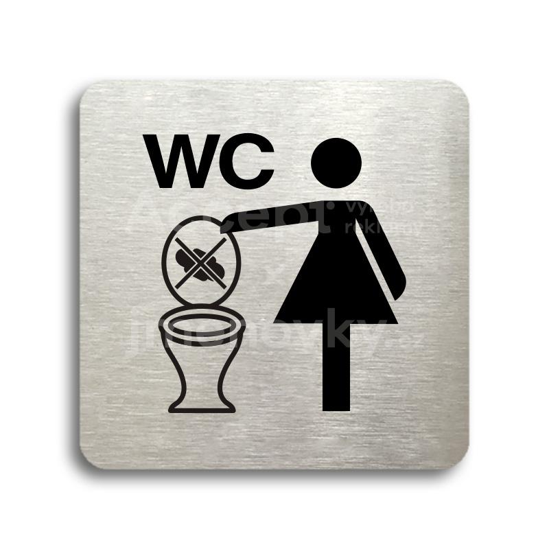 ACCEPT Piktogram zákaz vhazování předmětů do WC - stříbrná tabulka - černý tisk bez rámečku