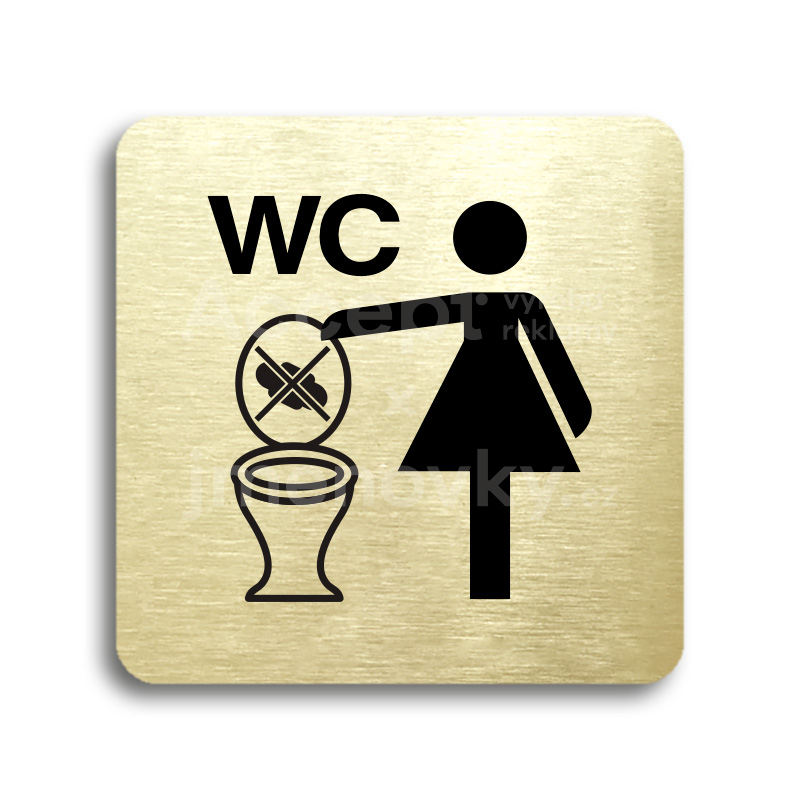 ACCEPT Piktogram zákaz vhazování předmětů do WC - zlatá tabulka - černý tisk bez rámečku